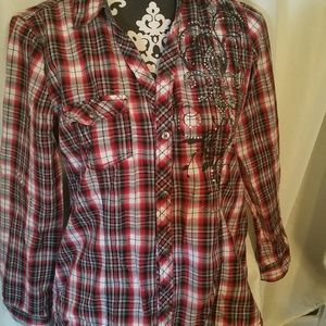 Cato Red Plaid w/Silver Stud Design Long Sleeve